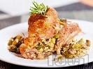 Рецепта Пуешко бутче пълнено с гъби и краставички